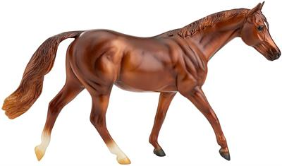"Coppery Chestnut Thoroughbred is the most popular breed of racehorse, the swift Thoroughbred has fans around the world. Horse measures approximately 9.75"" x 7"""