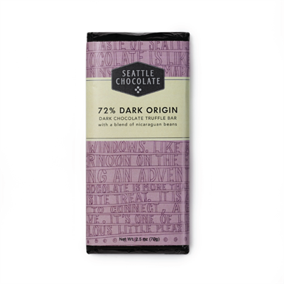 Made from a custom blend of Nicaraguan beans. Beans are ethically sourced and hand selected. The chocolate uses sunflower lecithin. Flavor notes are fruit forward, earthy and slightly acidic. 2.5 oz. Seattle Chocolates oversees the entire pre and post har