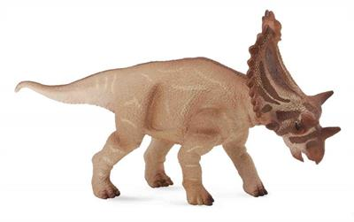 The Utahceratops lived about 76 million years ago, and grew up to 23 feet in length. Depicted with its massive head lowered, this beautifully sculpted, collectible figure measures 5.5''L x 2.8''H.