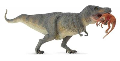 CollectA's replica of the fearsome Tyrannosaurus Rex is depicted carrying a Struthiomimus between its massive jaws. The figure is detailed and lifelike, down to the dinosaur's bumpy reptilian hide. The much smaller Struthiomimus dangles helplessly from th