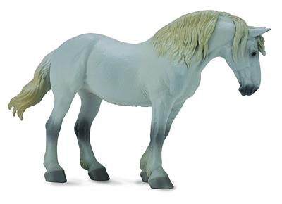 White or grey draft horse model toy horse figurine
