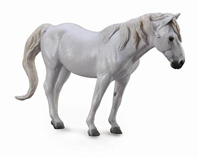 white or gray plastic model horse, unbreakable toy pony