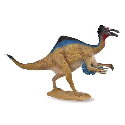 "CollectA's replica of the Deinocheirus is detailed and lifelike down to its feathered hide and impressive, curving claws. Deinocheirus measures 11.2"" L x 5.9"" H making this quite a large dinosaur model, but one that can still be held comfortably by the ha"