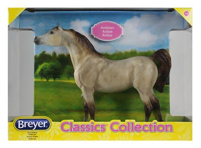 Arab model horse, flea bitten light gray coloring. Black Stallion mold.
