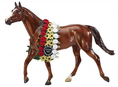 "Breyer Horses Traditional Size Justify #9300 Triple Crown Winner Racehorse, Chestnut Thoroughbred  Traditional Size Justify is wearing garland and measures 13""W x 9""H x 2"" D. The number thirteen has a reputation for being unlucky, but not if you're justif"