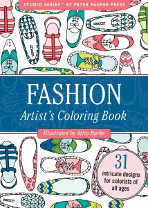 Adult level coloring book with shirts, shoes, dresses, and other clothing and fashion accessories.