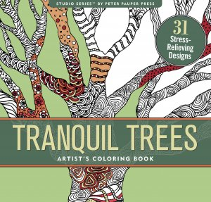 Adult level coloring book with tree, trees, flowers, plants, forest designs.