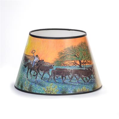 This new shade from Aladdin features a cowboy with Texas Longhorn cattle, mesquite trees, and cacti on a warm, sunset colored background. Fits most  Aladdin Kerosene Mantle Lamps