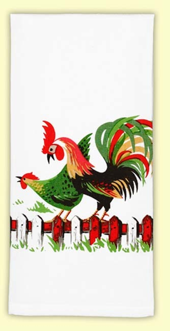 "Outspoken little hen and her proud husband! This vintage print of a country hen and her colorful rooster mate are sure to brighten up any country kitchen. 100% cotton flour sack towel measures 17"" x 24"". Brand New with Tags."