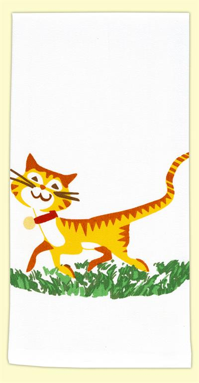 "A friendly tiger striped, yellow and orange cat just passing bye. This happy cat is sure to brighten up your kitchen. 17"" x 24"", 100% Cotton Flour Sack Towel. New with tags."
