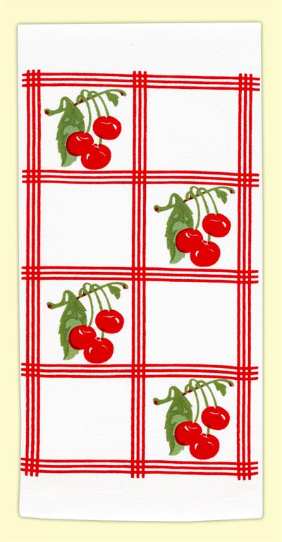 "Vintage-look, country-style flour sack towel with red tile squares and clusters of bright red cherries. Measures 17"" x 24"". 100% Cotton flour sack towel."