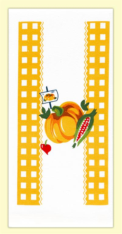 "A delightful, farmers market inspired vintage print. Features an orange pumpkin, surrounded by orange gingham print, fresh ears of corn, and a dainty radish. 100% cotton flour sack towel measures 17"" x 24"". Brand New with tags."