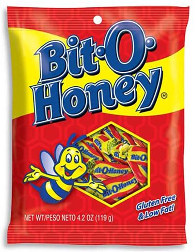 Bit O Honey Taffy Candy, 4.2 ounce bag  Bit-O-Honey is a bite-sized candy chew with almond bits blended into a honey flavored taffy. Delicious, sweet, and chewy combine into an irresistible candy treat. Bit O Honey candy is known for its long lasting chew