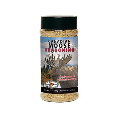 The Moose seasoning was created for Canadian consumers in mind. It has both French and English labeling on the bottle. It does have a flavor with a zing of garlic and paprika.