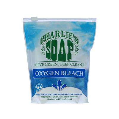 Chlorine bleach is harsh. It works – at the price of damaging certain fabrics. Charlie's Soap Oxygen Bleach is different. It is formulated from washing soda and hydrogen peroxide, which whitens whites and tackles stains and odors while being safer for the