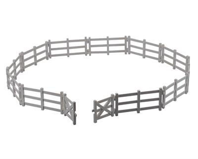 Includes 11 pieces of fence and a two-piece gate.  Now you can keep your CollectA horses and farm animals enclosed in the Corral Fence with Gate. Includes 11 pieces of fence and a two-piece gate. Ages 3+ | 1:18 Scale