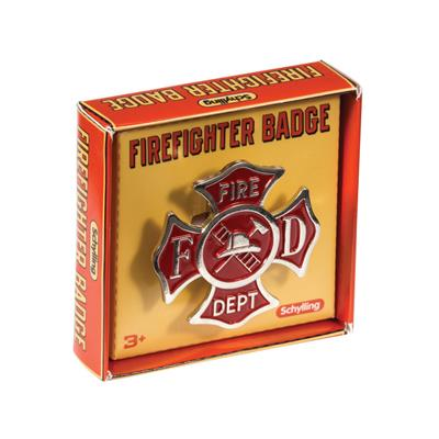 "Schylling Toys Firefighter Badge #FDB  Planning for Fire Prevention Week or putting together a fireman costume? This Tin Firefighter Badge w/Clip is perfect for the little fire fighters in your life. Item is 3.25"" wide. Comes with metal clip. Ages 3+."