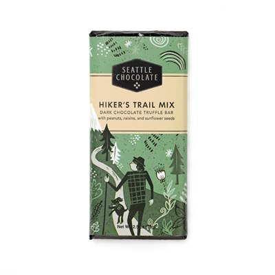 An ideal snack food for hikes or dreaming of hikes. Easy to pack and nutritious, providing a quick energy boost from the carbohydrates in the dried fruit, and sustained energy from fats in nuts and chocolate. This trail mix is packed with peanuts, Califor