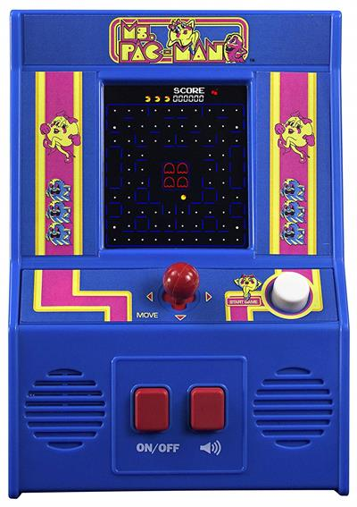 Kids and kids at heart will love this handheld version of Ms. Pac-Man, one of the most popular arcade games of all time! Use the joystick to navigate Ms. Pac-Man around the maze, eating dots and avoiding the ghosts! Gulp down a power pellet and then eat g