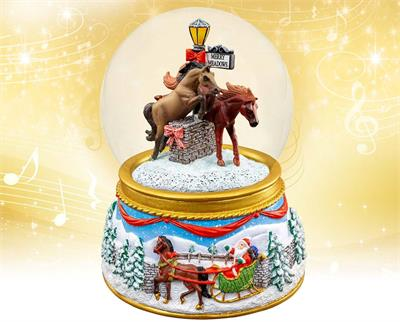 Breyer's #700240 Merry Meadows Musical Snow Globe is the 17th in the holiday series from Breyer Model Horses.