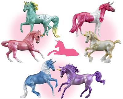 Breyer Horses Stablemates Size Mystery Unicorn Foal Surprise #6052 - 2 Horses and Foal Gift Set Ships at random, no color choice!  Hidden within the castle is a new unicorn foal waiting to be discovered! The set includes three (3) Stablemates unicorns: a