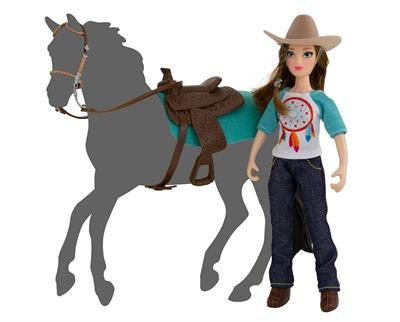 "Meet Breyer Horses newest rider for Classics Size and Freedom Series model horses! Natalie, Breyer's new 6"" articulated Western rider doll, is dressed in the latest cowgirl cool and is ready to saddle up. This set includes a 6"" articulated rider, Western"
