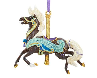 Breyer Horses 2019 Carousel Ornament Series Plume #700623 Holiday/Christmas 20th in a Collectible Series Brand New In Original, Un-Opened Box  Carousel horses are known for their adornment and beauty, and Plume is no exception! Her bright peacock-themed d