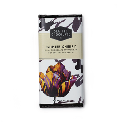 Seattle Chocolate Rainier Cherry Dark Chocolate Truffle Bar  Fresh dried cherries and pecans praline in dark chocolate, featuring 100% Rainforest Alliance Certified™ cocoa. A Northwest favorite. 2.5 oz.
