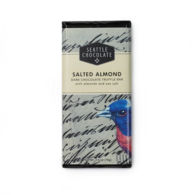Seattle Chocolates Salted Almond Dark Chocolate Truffle Bar with Sea Salt  Large chunks of dry roasted almonds with a hint of sea salt in Seattle Chocolate's signature classic rich dark chocolate. 2.5 oz candy bar.  Ingredients in Seattle Chocolates Salte