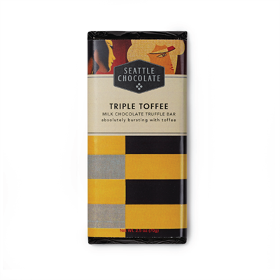 Seattle Chocolates Triple Toffee Milk Chocolate Truffle Bar  Absolutely packed full of toffee, the name might be an understatement. Creamy milk chocolate loaded with traditional English style hard toffee bits made locally in Woodinville, Washington, plus