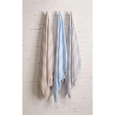 "1888 Mills Wander Boho Natural and Blue Cotton Throw/Blanket 40"" x 68""  This stylish and versatile blanket can be used to cozy up in the guest room, by the pool or on the patio. Soft 100% ring-spun combed cotton with a unique flat weave. 3"" tassels.  One"