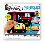 Construct colorful scenes and puzzles, mix and match over 150 Colorforms® pieces to build your own unique vehicles, then re-stick the shapes to create imaginative stories over and over again!