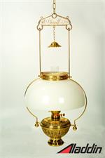 Antique style brass hanging lamp with large round opal white glass lamp shade
