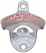 Classic Cast Iron Stationary Bottle Opener Made by The Starr X Company. Part #SX-OBH-Z  Zinc plated cast iron bottle opener includes mounting screws. Mounting holes are 2 1/2