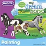 Paint model horses, miniature stallion, mare, and foal