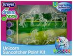 Breyer Horses Stablemates Size Unicorn Suncatcher Paint Kit #4220 This set includes 5 clear Stablemates unicorns, 1 paintbrush, 6 fantasy-colored paint pots, and an instruction sheet.  A fan-favorite activity – now with unicorns! Create exciting unicorn m