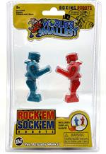 It's the fight of the century! You throw a right, the other throws a left, hit the jaw and the head pops up! Get ready to perfect your Rock'Em Sock'Em techniques because the classic boxing robots have shrunk to a mini size and yes, they're fully functiona