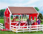 Plastic red barn for model horses.