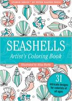 Adult level coloring book with shells, scallops, beach, sea, shore themed coloring pages.