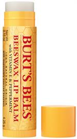 Open cap off natural beeswax lip balm tube in yellow. 100% Natural Burt's Bees brand lip balm with peppermint oil