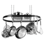 Arrange your cookware and utensils with the Black Enameled Steel Oval Hanging Pot Rack by Range Kleen. Easily access your hanging cookware and utensils! This attractive oval pot rack hangs from the ceiling with an upper shelf and repositionable hooks to s