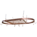 Organize your cookware and save cabinet space with the Copper Motif Oval Hanging Pot Rack by Range Kleen. The ceiling mounted Oval Hanging Pot Rack Bar features a stylish Copper painted finish, and is perfect for utilizing unconventional spaces for organi