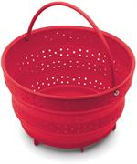 Collapsible Red Steamer Basket with handle. Fits Instapot 6 quart LUX models. Cooks eggs, fish, easy clean up. Collapases for compact kitchen storage.