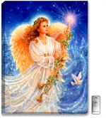 A beautiful young angel holds a golden candlestick. A peace dove softly flies by. Brilliant sapphire blue background with stars and snow dusted evergreen trees.
