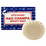 Satya Sai Baba Nag Champa Natural Bar Soap 75 Gram  This soap is perfect for those who enjoy the unforgettable scent of Nag Champa Incense. This rich lathering soap is made from pure vegetable ingredients, to cleanse and refresh your body and moisturize y