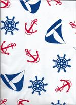 A fun, nautical inspired all over printed pattern on white background. Sailboats, Anchors, and Ship's Wheels in bright primary colors. Full Bolt of 12 yards (36 continuous feet)