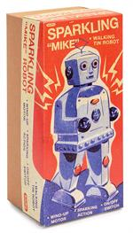 Reproduction 1960s style sparking walking robot