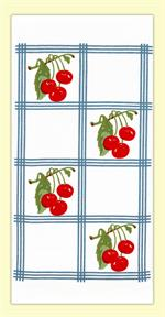 Red and White Kitchen Country Cherry Towel with Blue Tiles #VL74  Vintage-look, country-style flour sack towel with blue tile squares and clusters of bright red cherries. Measures 17