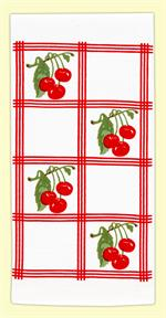 Vintage-look, country-style flour sack towel with red tile squares and clusters of bright red cherries. Measures 17