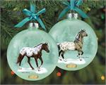With coat patterns as unique as snowflakes, the Appaloosa is stunning from every angle – just like our Artist's Signature ornament! Designed by Sheryl Leisure, both sides of this translucent glass ball feature an Appaloosa that was inspired by beloved Bre